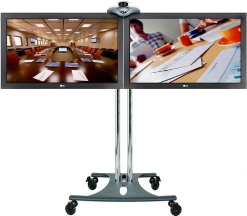 Premier Mounts Tilt Elliptical Base Twin Screen TV Stand / Trolley - 40