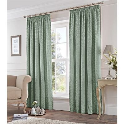 Fusion Eastbourne Duck Egg 46x54 Inch Pencil Pleat Curtains