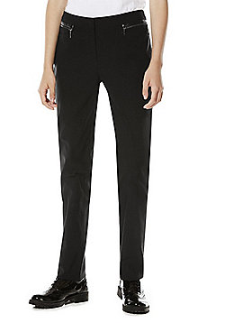 F&F School Girls Zip Pocket Slim Leg Trousers - Black
