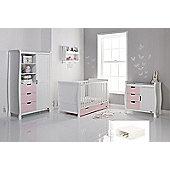 Obaby Stamford Cot Bed 4 Piece Sprung Mattress Nursery Room Set - White with Eton Mess (Pink)