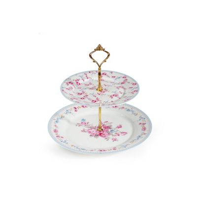 2 Tier Country Rose Bone China Cake Stand with Chrome Stand