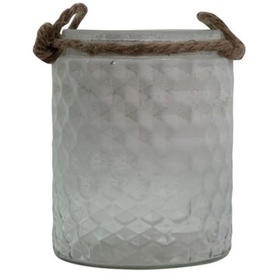 Half-White Frosted Glass & Jute Tealight Candle Holder or Vase