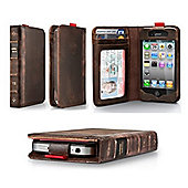 Classic Leather Book Case iPhone 5, iPhone 5S, iPhone SE - Brown