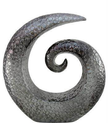 Dark Grey Nouveau Large Swirl Decoration