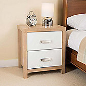 Bianco Oak Effect 2 Drawer Bedside Cabinet