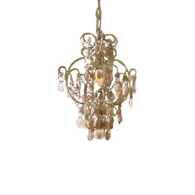 Cream Chandelier, Milky Pink Crystal