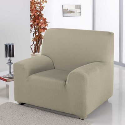 Homescapes Single Seat Armchair Cover Elasticated Slipcover Protector, Beige