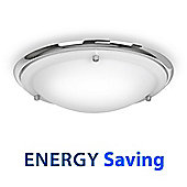 Energy Saving IP44 Flush Bathroom Ceiling Light, Chrome