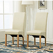 Set of 2 Faux Leather Dining Chairs Roll Top Scroll High Back (Creme)