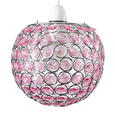 Ducy Non Electric Ceiling Pendant Shade & Pink Jewels