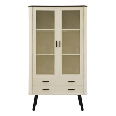 Piano Scandinavian Style Display Cabinet White with Black tops