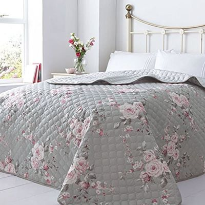 Catherine Lansfield Canterbury Quilted Bedspread 240 x 260cm Grey