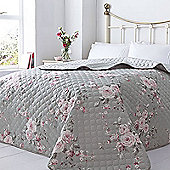 Canterbury, Grey Rose Floral Quilted Throw - 240 x 260 cm