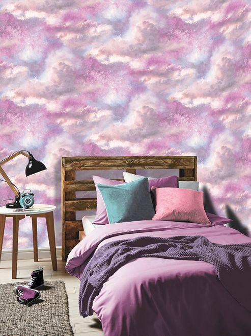 Diamond Galaxy Cloud Wallpaper Purple and Blush Pink Arthouse 260009