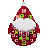Red Felt Round Father Christmas Fabric Hanging Advent Calendar