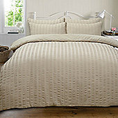 Highams Seersucker Duvet Cover with Pillowcase Bedding Set Silver White Charcoal - Stone