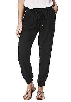 F&F Metallic Embroidered Drawstring Cuffed Trousers - Black