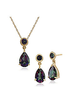 Gemondo 9ct Yellow Gold Mystic Green Topaz Drop Earring & 45cm Necklace Set