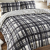 Angus, Black Check Super King Size Bedding in 100% Brushed Cotton