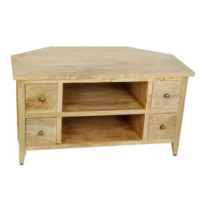 Homescapes Groove Oak Shade Solid Mango Wood TV Video Corner Unit With Drawers