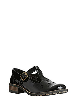 F&F All Day Comfort Patent T-Bar School Shoes - Black