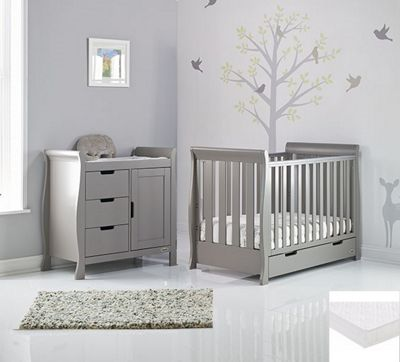Obaby Stamford Classic Mini Cot Bed 2 Piece + Sprung Mattress Nursery Room Set - Warm Grey