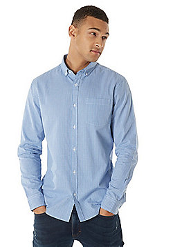 F&F Signature Button-Down Collar Checked Long Sleeve Shirt - Blue