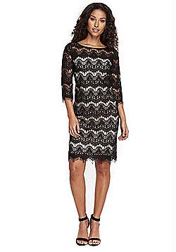 Wallis Petite Scalloped Lace Shift Dress - Black