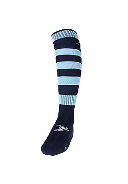Precision Training Hooped Pro Football Socks - Navy & sky blue