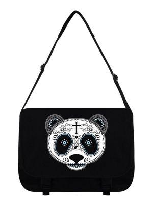 Sugar Skull Panda Black Messenger Bag 38x33x11cm