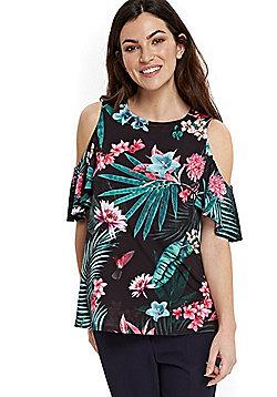 Wallis Tropical Print Cold Shoulder Top - Black