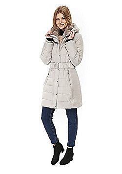Wallis Petite Elasticated Belt Puffer Coat - Light grey