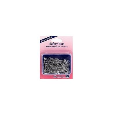 Hemline Nickel Safety Pins Value Pack