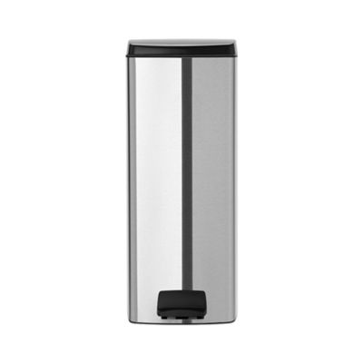 Brabantia Rectangular Pedal Bin with Silent Lid, Protective Floor Ring, Fingerprint Proof, Matte Steel, 25 Litres