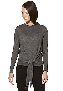 Only High Neck Knot Detail Top - Grey