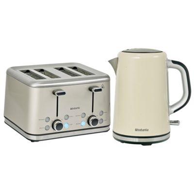 Brabantia BQPK08 Almond Breakfast Kettle and 4 Slice Toaster Set