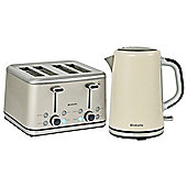Brabantia BQPK08 Almond Breakfast Kettle and 4 Slice Toaster Set