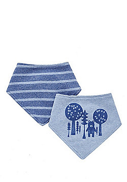 F&F 2 Pack of Bear and Striped Dribble Bibs - Blue