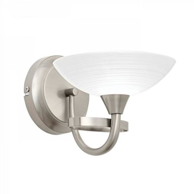 Satin Chrome Effect Wall Light With White Painted Patterned Detailed Glass