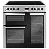 Beko BDVC90X 90cm Electric Range Cooker in Stainless Steel | 3 Door, Ceramic Hob