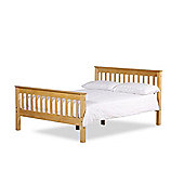 Happy Beds Somerset Waxed Pine Wooden Bed Spring Mattress 4ft6 Double