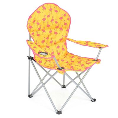 Trail Deluxe Funky Folding Festival Chairs - Yellow Flamingo