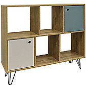 Industrial - Open Sideboard Shelving / Lp Vinyl Storage - Oak