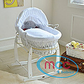 Wicker Moses Basket With Mattress, Cover and Rocking Stand (white)