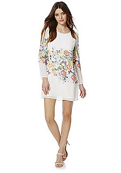 Yumi Floral Georgette Dress - Ivory