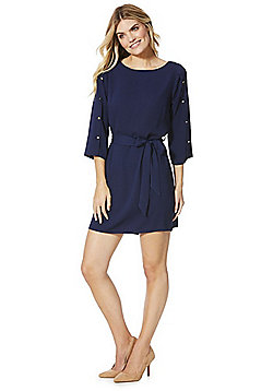 F&F Button and Tie Waist Tunic Dress - Blue