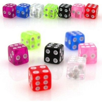 Urban Male Pack of Seven UV Acrylic Dice Threaded Colour Balls 1.6mm