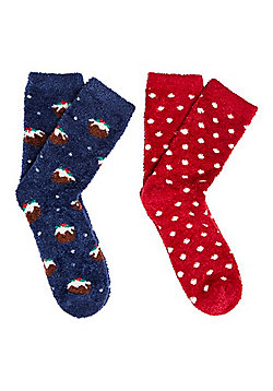 F&F 2 Pair Pack of Christmas Pudding Cosy Socks - Navy & Red