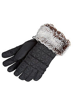 """F&F Quilted Faux Fur Trim Gloves with Thinsulate""""™ - Black"""