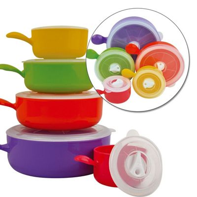 5 Coloured Microwave Food Cooking Bowls Set With Lids